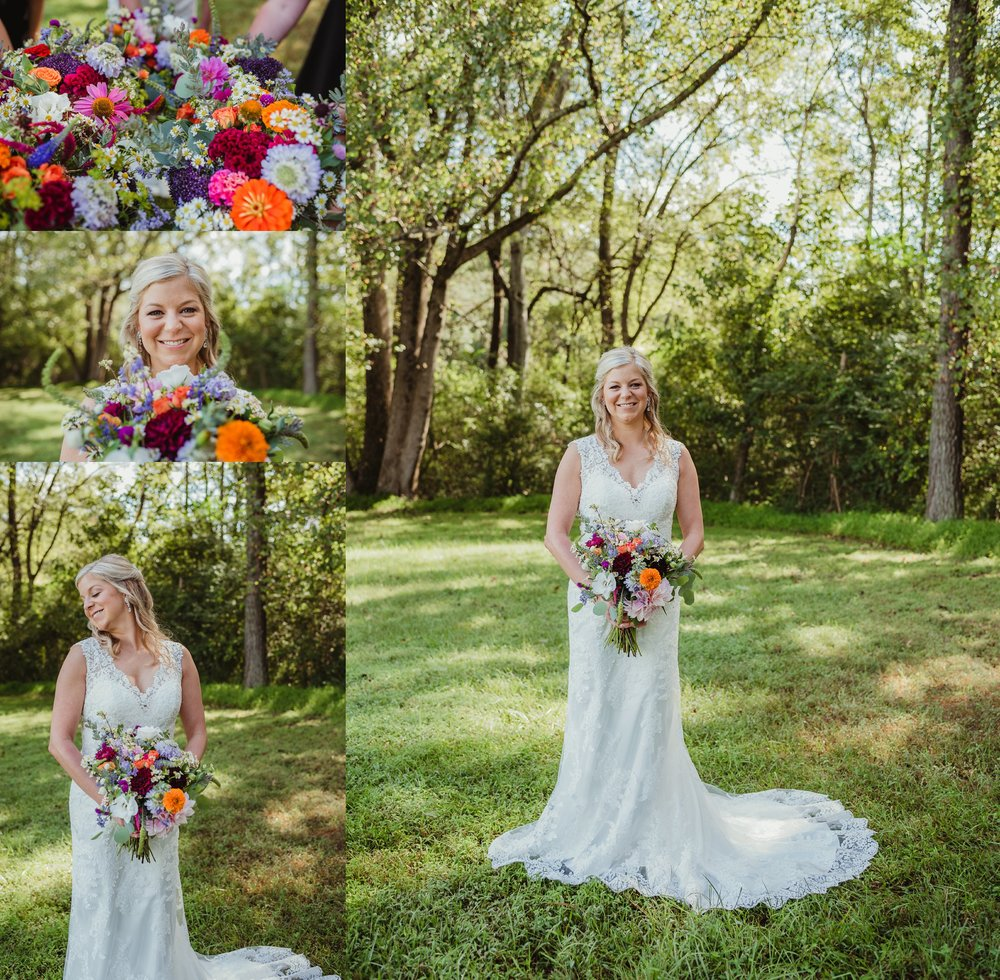 The bride poses for portraits with Rose Trail Images before her wedding ceremony at Cedar Grove Acres near North Carolina.