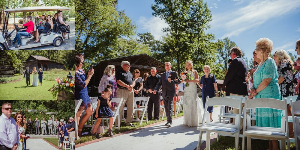 The bride and groom see each other at their wedding ceremony at Cedar Grove Acres near North Carolina, photos by Rose Trail Images.