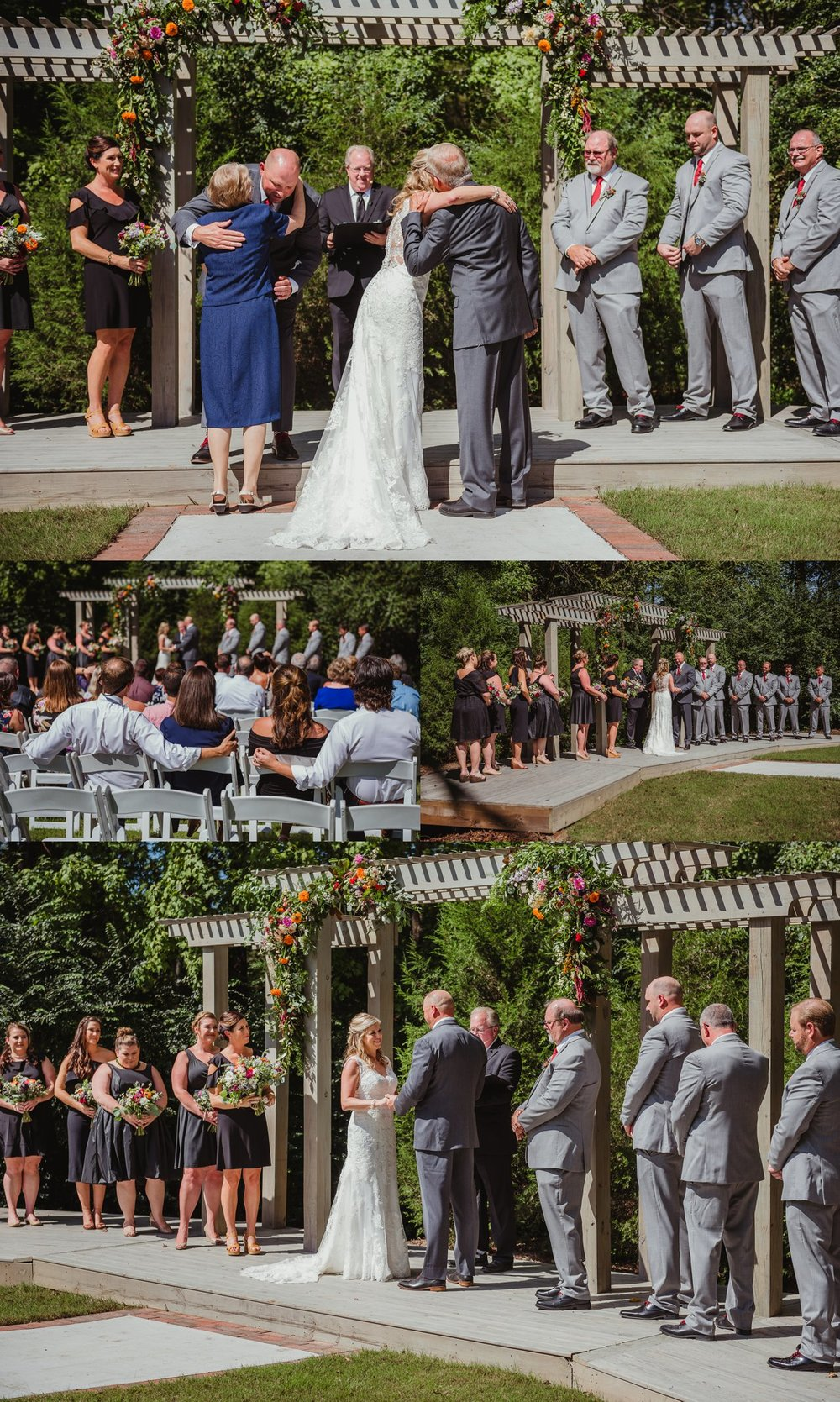 The bride and groom exchanged vows during their wedding ceremony at Cedar Grove Acres near North Carolina, photos by Rose Trail Images.