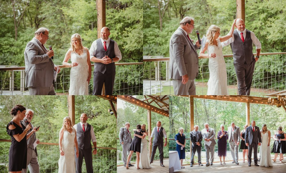 The bride and groom share a toast with the maid of honor and the groom's father during their wedding reception at Cedar Grove Acres near Raleigh, pictures by Rose Trail Images.