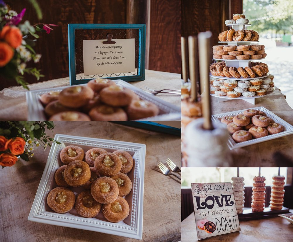 The bride and groom chose donuts instead of cake for their wedding reception at Cedar Grove Acres near Raleigh, pictures by Rose Trail Images.