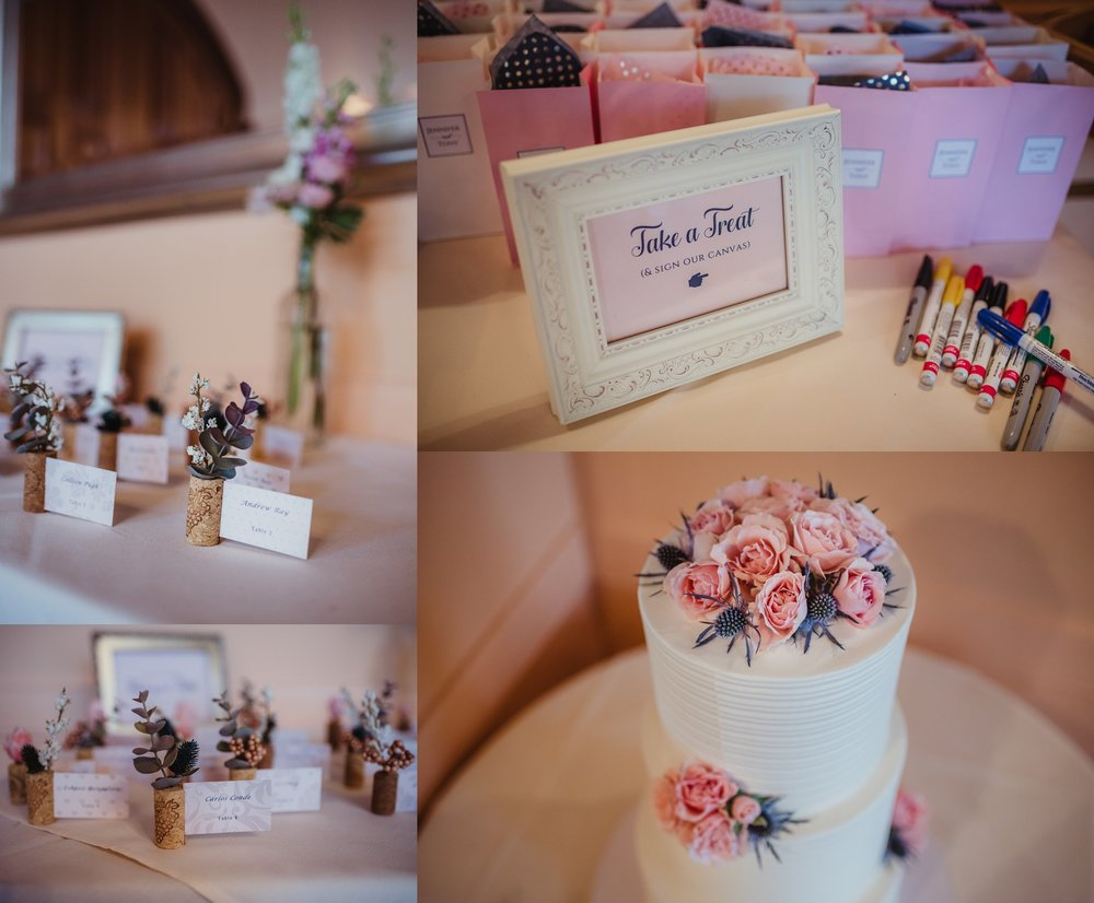 Details of the cork screw place cards, favor bags, and the wedding cake, pictures taken by Rose Trail Images at Caffe Luna in Raleigh, NC.
