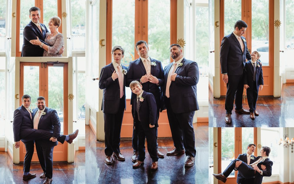 The groom took pictures with his groomsmen and mom after the wedding ceremony, pictures taken by Rose Trail Images at Caffe Luna in Raleigh, NC.