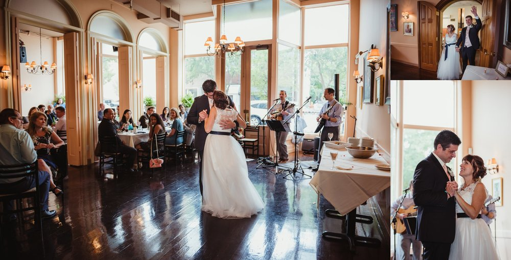 The bride and groom took their first dance together as husband and wife, pictures taken by Rose Trail Images at Caffe Luna in Raleigh, NC.