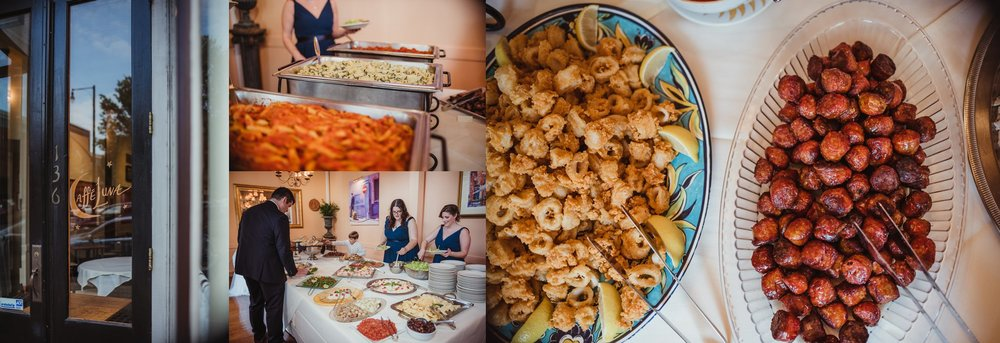 Pictures of the amazing Italian feast during the bride and groom's wedding reception, pictures taken by Rose Trail Images at Caffe Luna in Raleigh, NC.