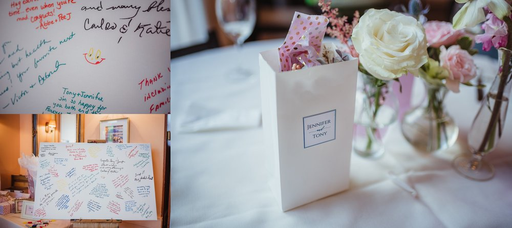 Details of the wedding reception at Caffe Luna included a guest book canvas and sweet goody bags, pictures taken by Rose Trail Images in Raleigh, NC.