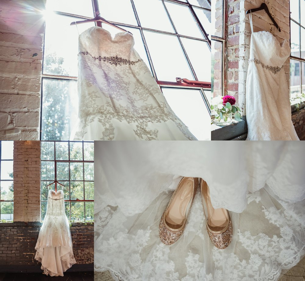 Details of the wedding dress and shoes before the ceremony at Forest Hall at Chatham Mills in Raleigh, North Carolina, pictures by Rose Trail Images.
