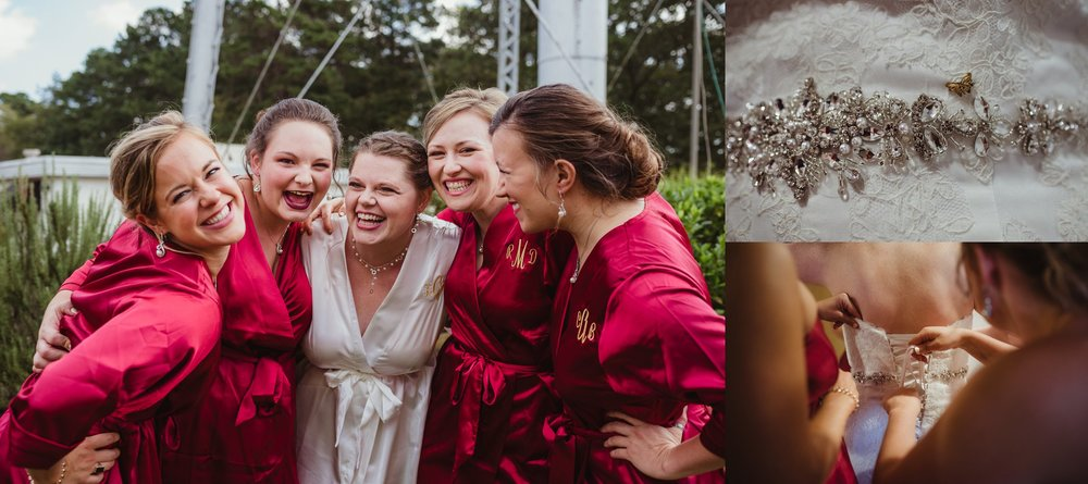 The bride and her bridesmaids take pictures before the wedding ceremony in Raleigh, North Carolina, pictures by Rose Trail Images.