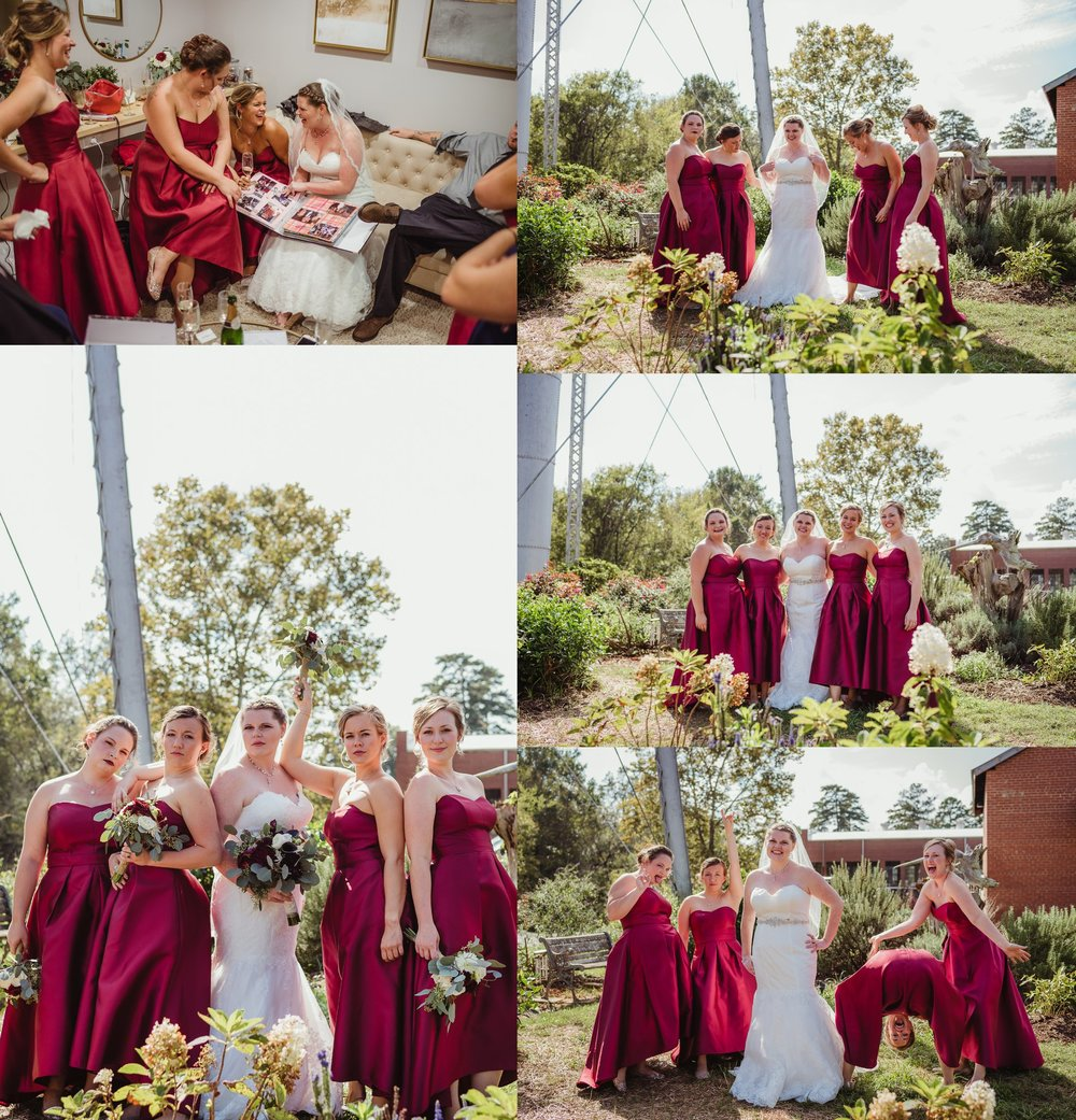 The bride and her bridesmaids take portraits outside before the wedding ceremony in Raleigh, North Carolina, pictures by Rose Trail Images.