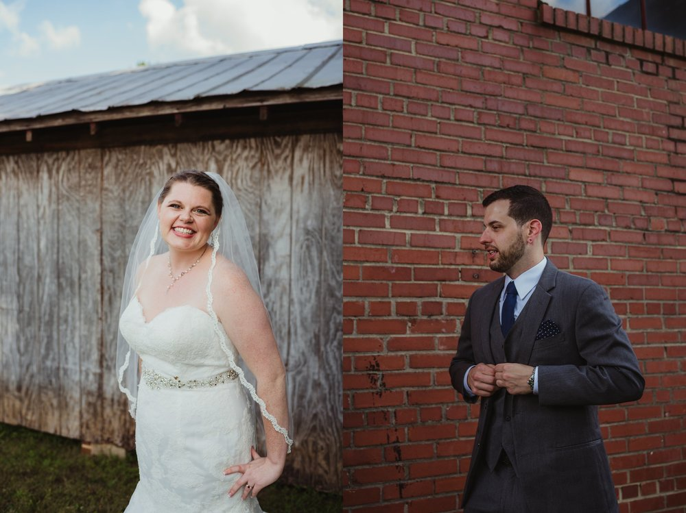 Portraits of the bride and the groom before their wedding ceremony in Raleigh, North Carolina, pictures by Rose Trail Images.