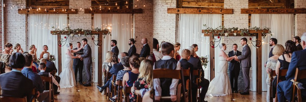 The bride and groom say their vows during their wedding ceremony in Raleigh, North Carolina, pictures by Rose Trail Images.