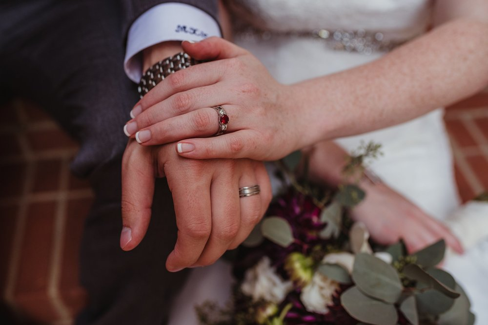 A close up of the bride and groom's wedding rings after their wedding ceremony in Raleigh, North Carolina, pictures by Rose Trail Images.