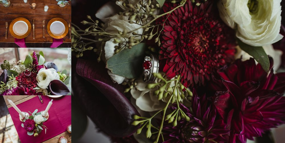 Wedding details include their ruby rings, family candlesticks, bright colors and gold chargers in Raleigh, North Carolina, pictures by Rose Trail Images.