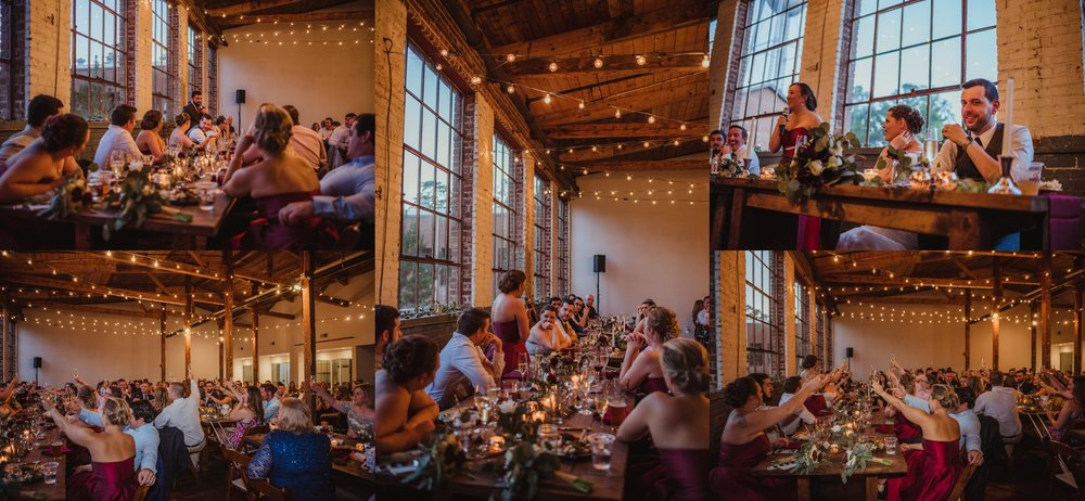The bride and groom were toasted by all sorts of guests at their wedding reception in Raleigh, North Carolina, pictures by Rose Trail Images.