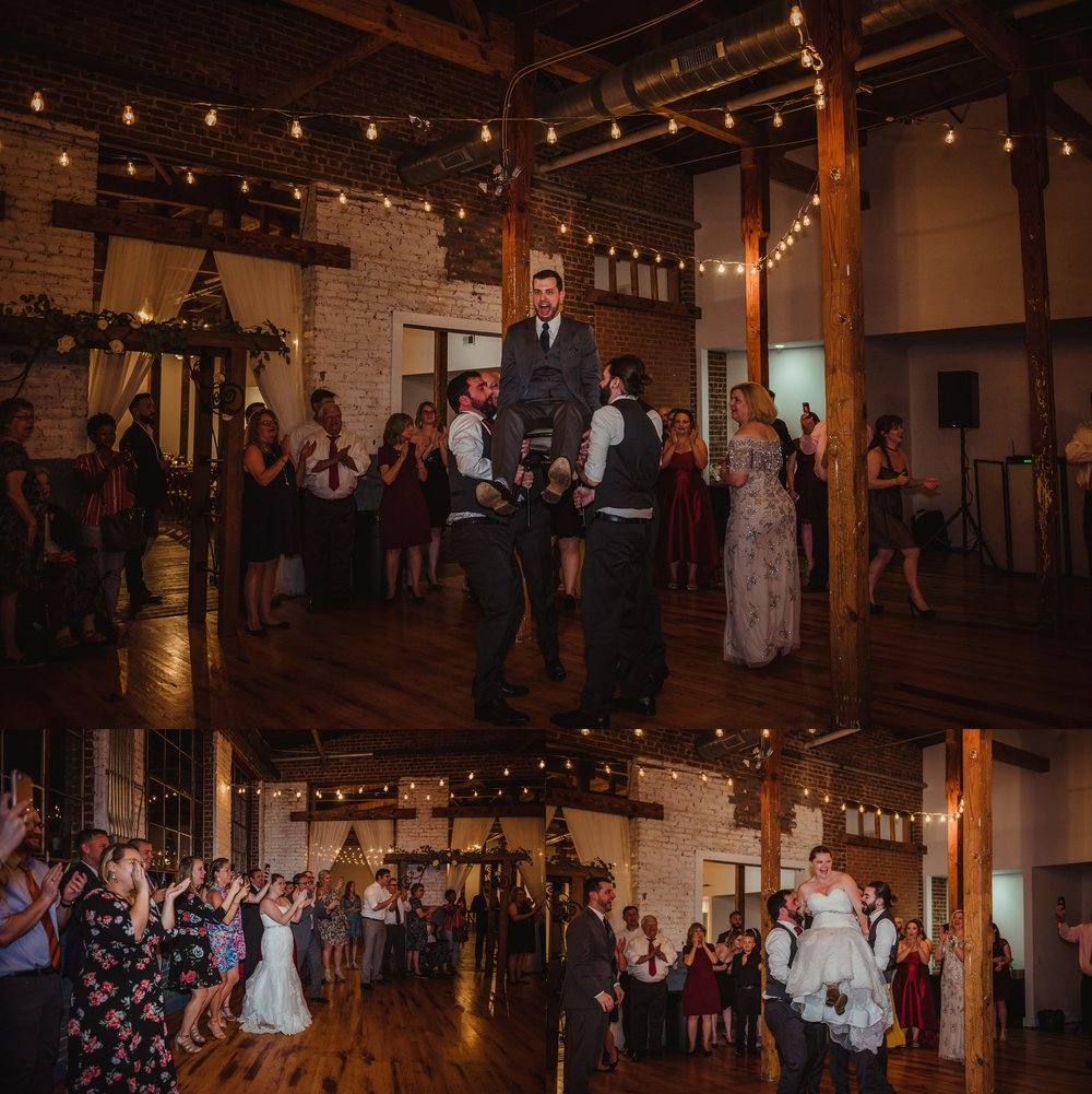 The bride and groom and their guests danced the hava nagila at their wedding reception in Raleigh, North Carolina, pictures by Rose Trail Images.
