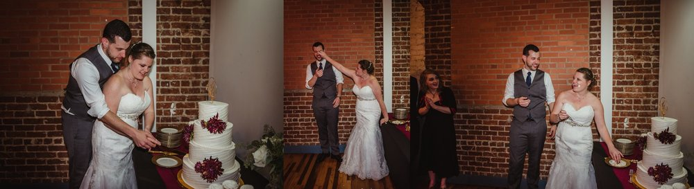 The bride and groom cut the cake and made a mess at their wedding reception in Raleigh, North Carolina, pictures by Rose Trail Images.