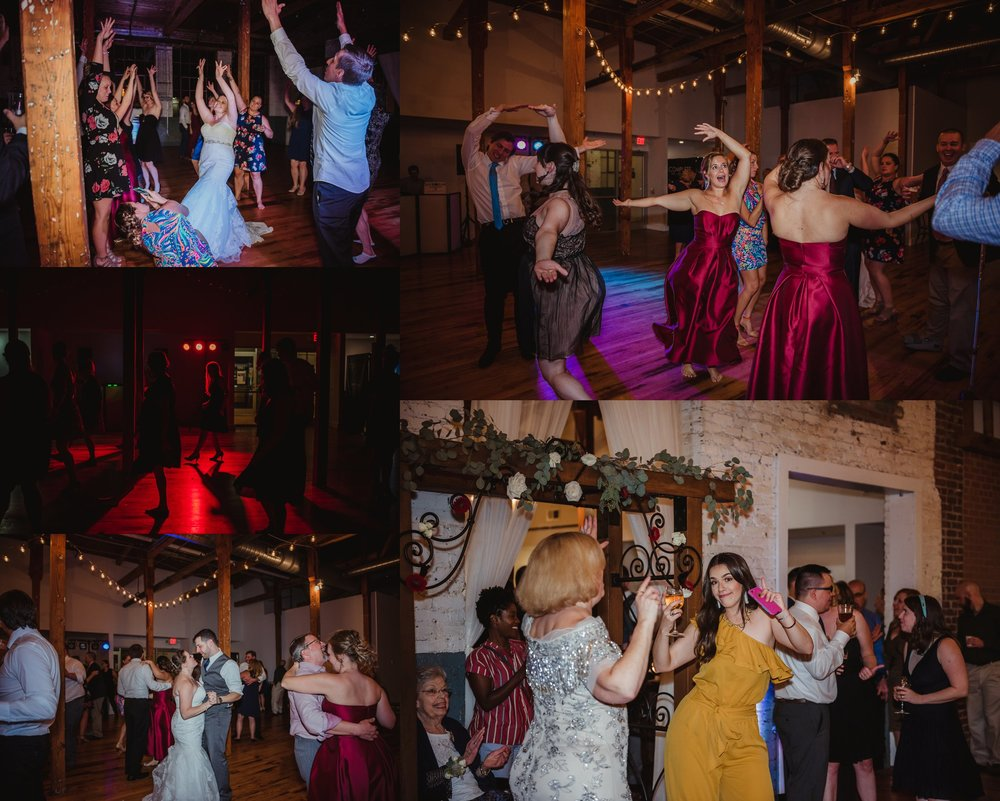 The bride and groom danced with all of their guests at their wedding reception in Raleigh, North Carolina, pictures by Rose Trail Images.