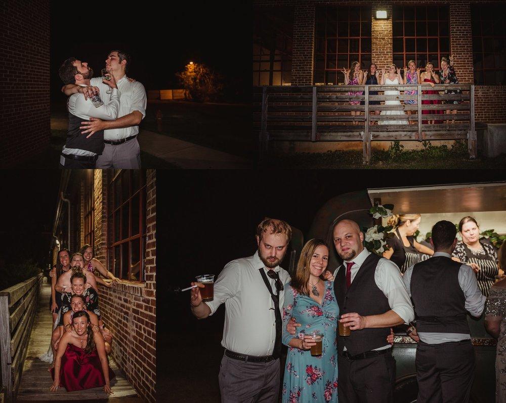 The guests all enjoyed beverages outside at the wedding reception in Raleigh, North Carolina, pictures by Rose Trail Images.