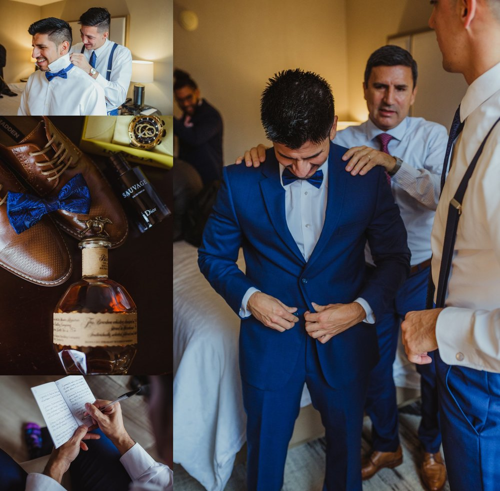 The groom got ready in downtown Raleigh and details include writing vows, a blue suit and matching bowtie, and bourbon, photos by Rose Trail Images.