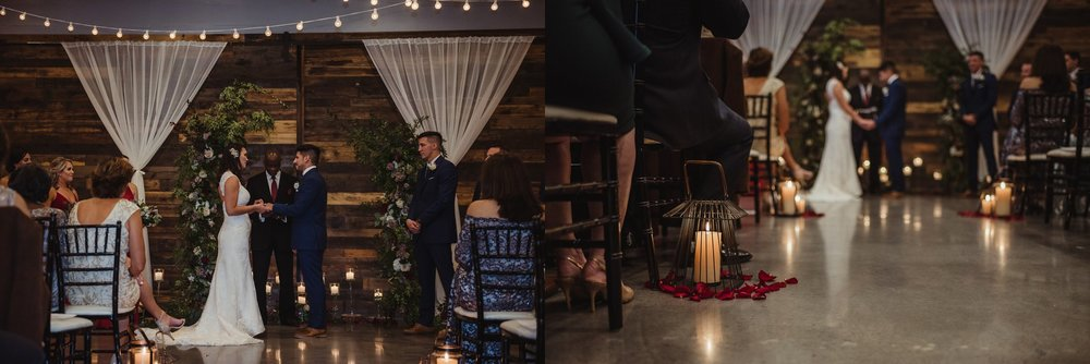 The bride and groom exchanging vows at their wedding ceremony in downtown Raleigh, photos by Rose Trail Images.