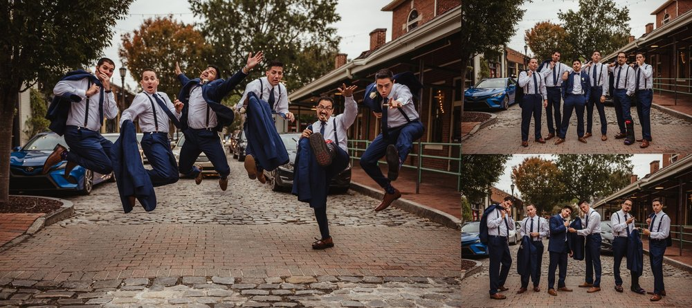The groomsmen took group portraits outside at Market Hall after wedding ceremony in downtown Raleigh, photos by Rose Trail Images.