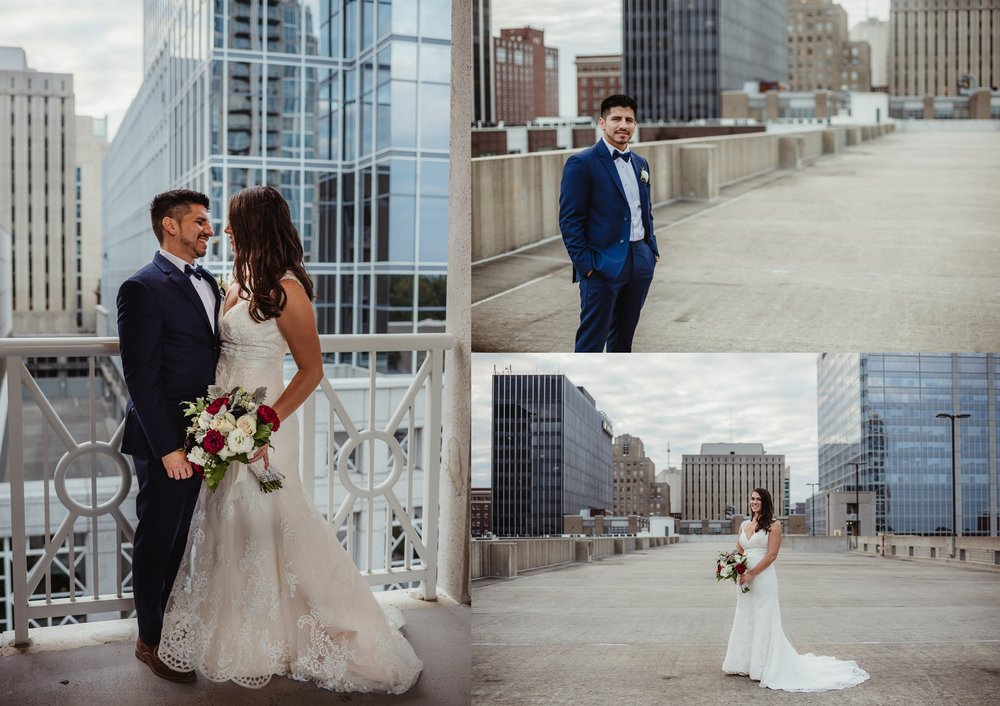 The bride and groom took portraits outside after their wedding ceremony in downtown Raleigh, photos by Rose Trail Images.
