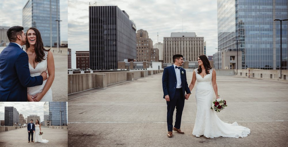 The bride and groom took portraits outside on a rooftop after their wedding ceremony in downtown Raleigh, photos by Rose Trail Images.