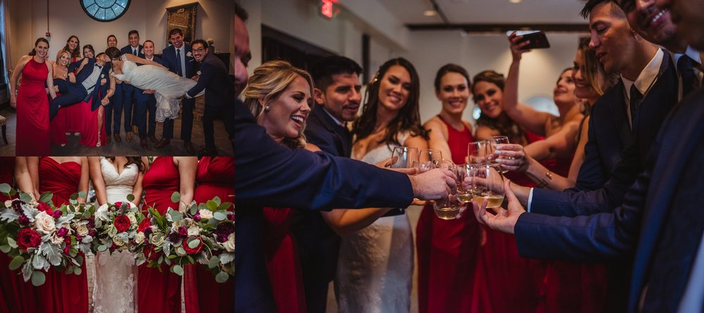 The bride and groom, along with their bridal party, cheered and celebrated before the wedding ceremony in downtown Raleigh, photos by Rose Trail Images.