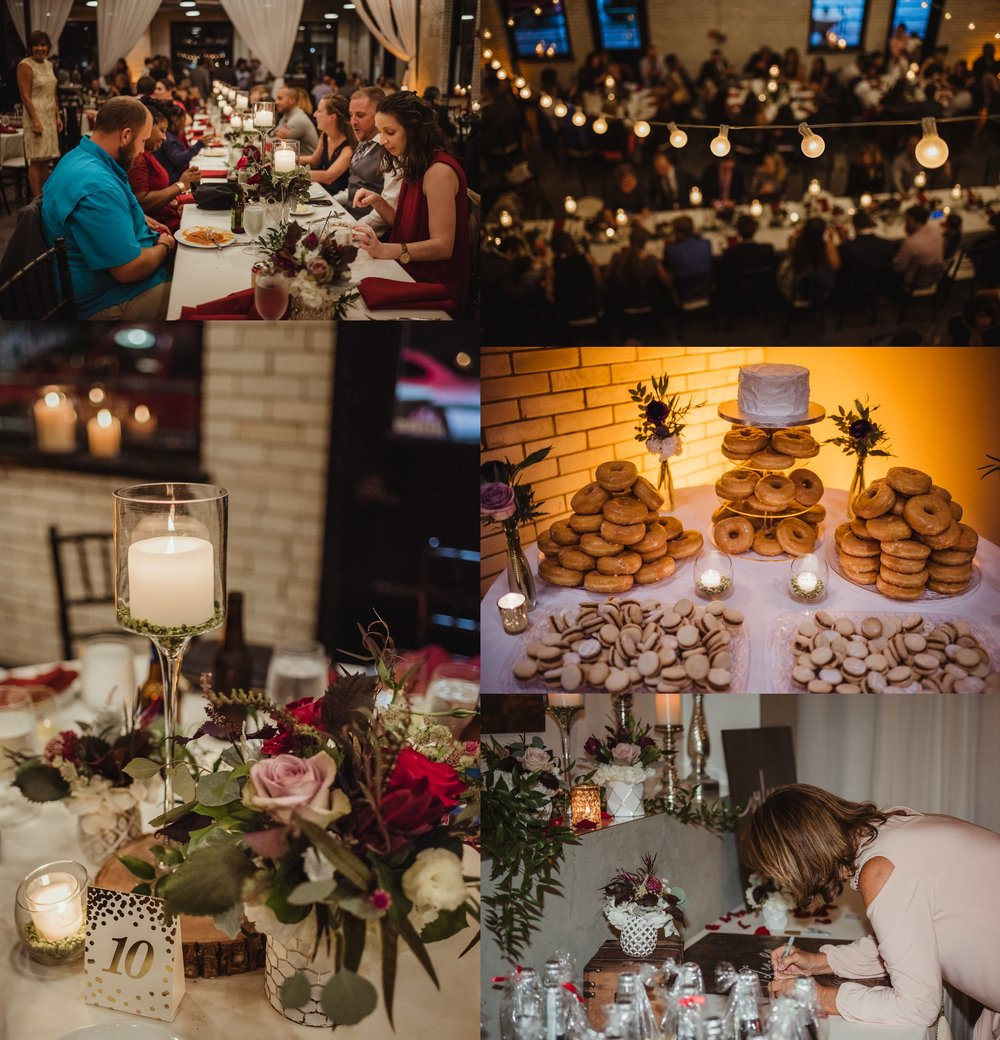 Details include flowers, candles, donuts, and romantic lighting at their wedding reception at Market Hall in downtown Raleigh, photos by Rose Trail Images.