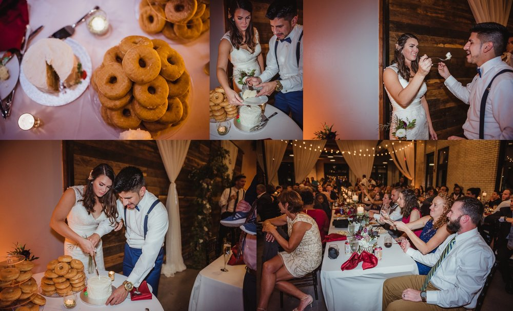 The bride and groom, along with their guests, enjoyed cutting the cake at their wedding reception at Market Hall in downtown Raleigh, photos by Rose Trail Images.