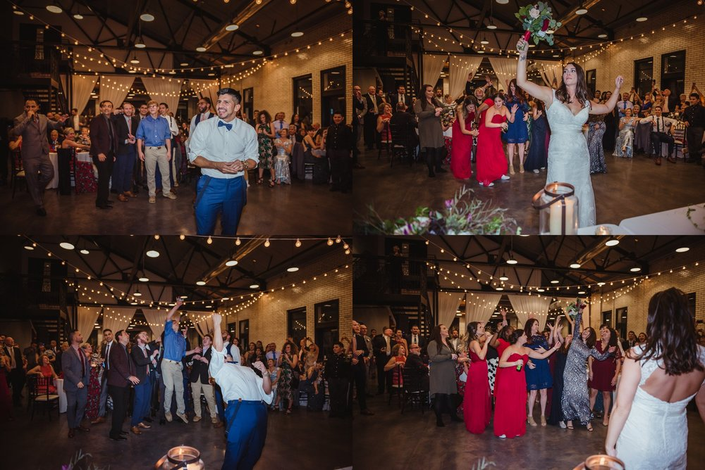 The bride and groom, along with their guests, enjoyed enjoyed catching the garter and the flower bouquet at the wedding reception at Market Hall in downtown Raleigh, photos by Rose Trail Images.