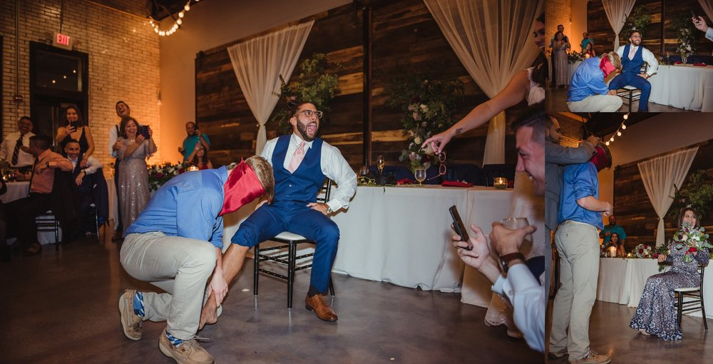 The bridal party played a trick on a guest at their wedding reception at Market Hall in downtown Raleigh, photos by Rose Trail Images.