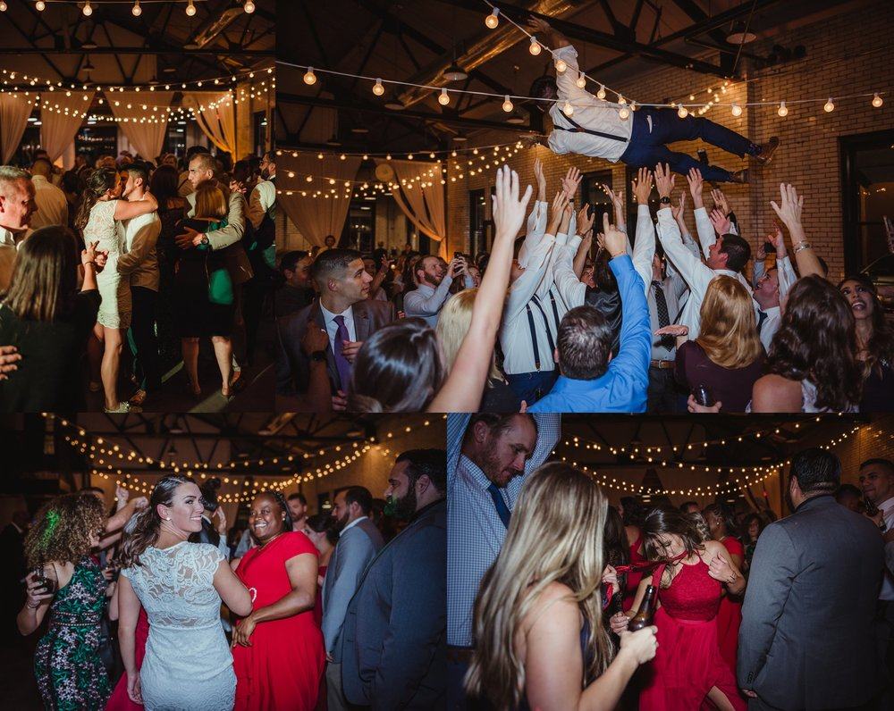 The bride and groom, along with their guests, enjoyed dancing at their wedding reception at Market Hall in downtown Raleigh, photos by Rose Trail Images.