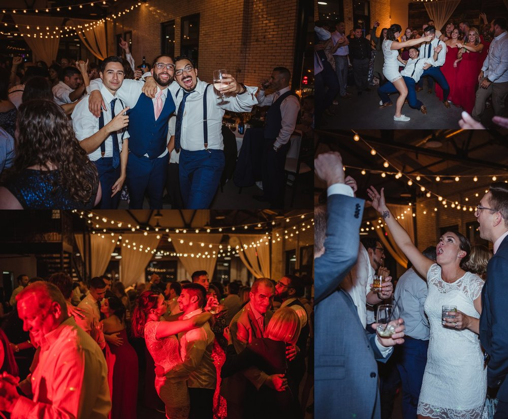 The bride and groom, along with their guests, enjoyed dancing and drinking at their wedding reception at Market Hall in downtown Raleigh, photos by Rose Trail Images.