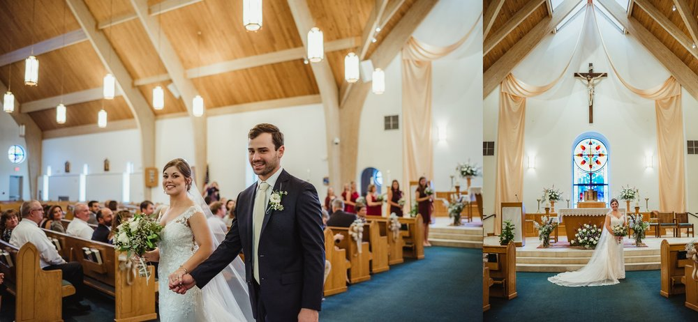 The bride and groom walk down the aisle and pose after their wedding ceremony at Saint Bernadette's Catholic Church in Fuquay Varina, North Carolina. Photo by Rose Trail Images.