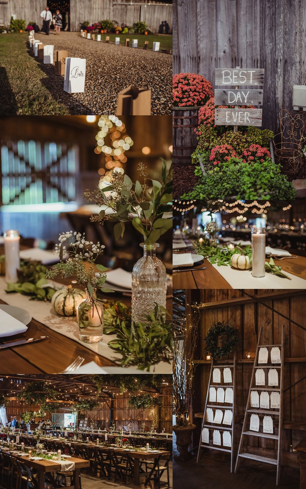 Details of the wedding reception at the Little Herb House in Raleigh, North Carolina include lots of candles, autumn decor, paper lanterns outside the barn, and rustic decor. Photo by Rose Trail Images.