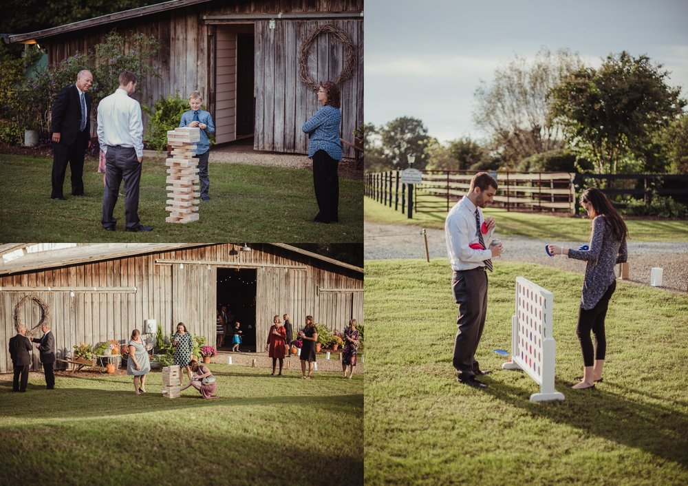 Guests at the wedding reception at the Little Herb House in Raleigh, North Carolina enjoyed lawn games. Photos by Rose Trail Images.