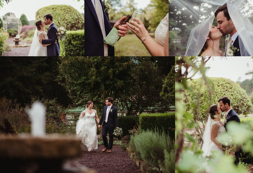 The bride and groom take pictures outside before their wedding reception at the Little Herb House in Raleigh, North Carolina. Photos by Rose Trail Images.