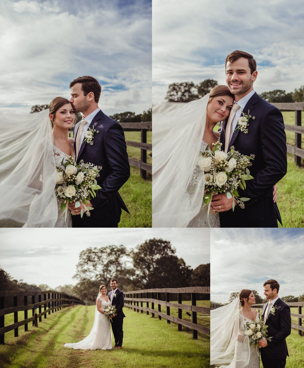 The bride and groom take formal portraits outside before their wedding reception at the Little Herb House in Raleigh, North Carolina. Photos by Rose Trail Images.