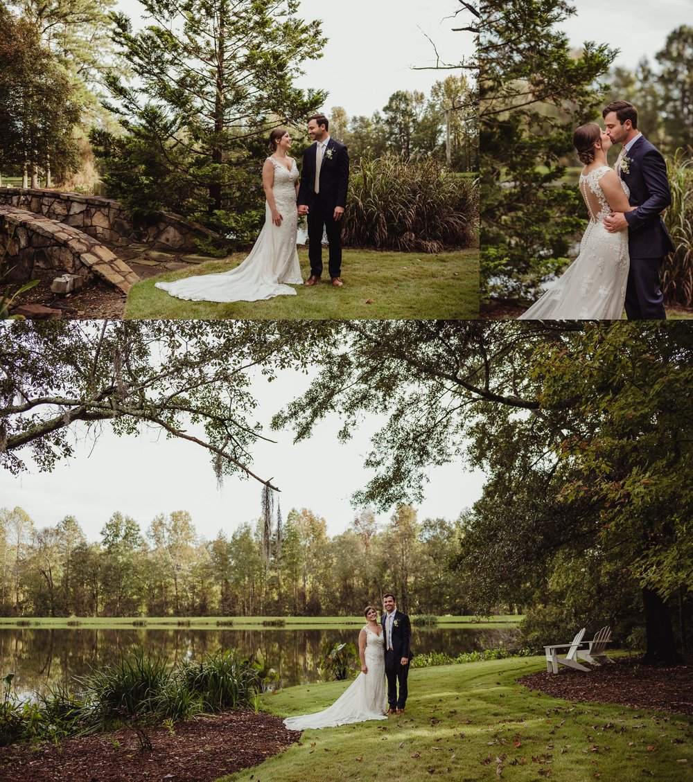 The bride and groom laugh during bride and groom pictures outside before their wedding reception at the Little Herb House in Raleigh, North Carolina. Photos by Rose Trail Images.