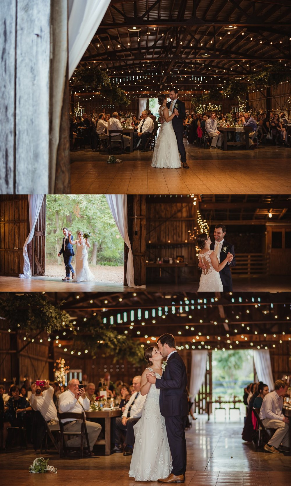 The bride and groom dance their first dance together at their wedding reception at the Little Herb House in Raleigh, North Carolina. Photos by Rose Trail Images.