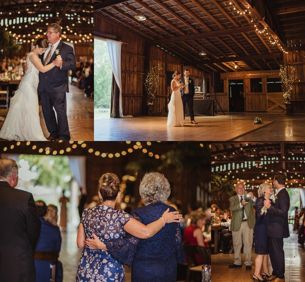 The bride and groom dance with their parents and give a speech at their wedding reception at the Little Herb House in Raleigh, North Carolina. Photos by Rose Trail Images.