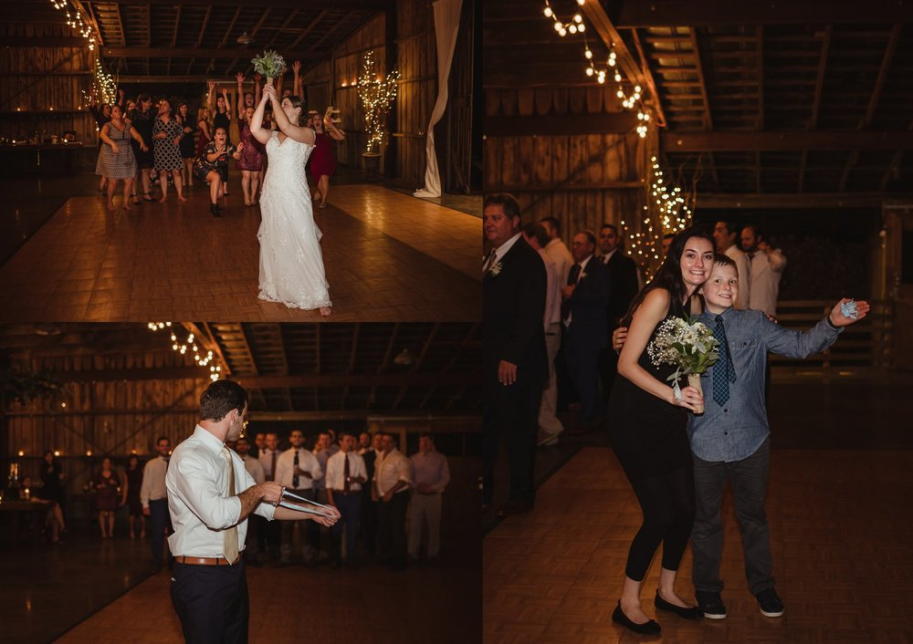 The bride and groom throw the bouquet and the garter during their wedding reception at the Little Herb House in Raleigh, North Carolina. Photos by Rose Trail Images.