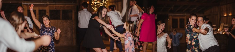 The guests all enjoyed dancing during the fun wedding reception at the Little Herb House in Raleigh, North Carolina. Photos by Rose Trail Images.