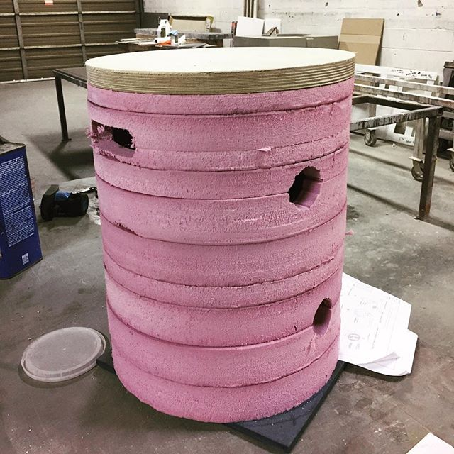 The caps from yesterday fit nicely on the positive form for the counterweights for our project with Eva Jensen design LLC. Shoutout to @truthconcrete who is making the pieces. . . . #concrete #cnc #mold #design #counterweight #fabrication #art #pink