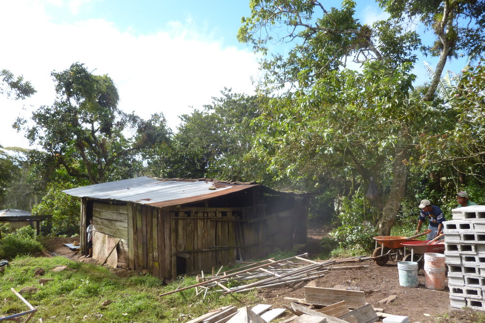 Beatriz' house. Smoke seeps out of the kitchen, situated in the front half of the structure, with her sons' bedroom in the back half. Yes, the boards do not intersect with the roof.