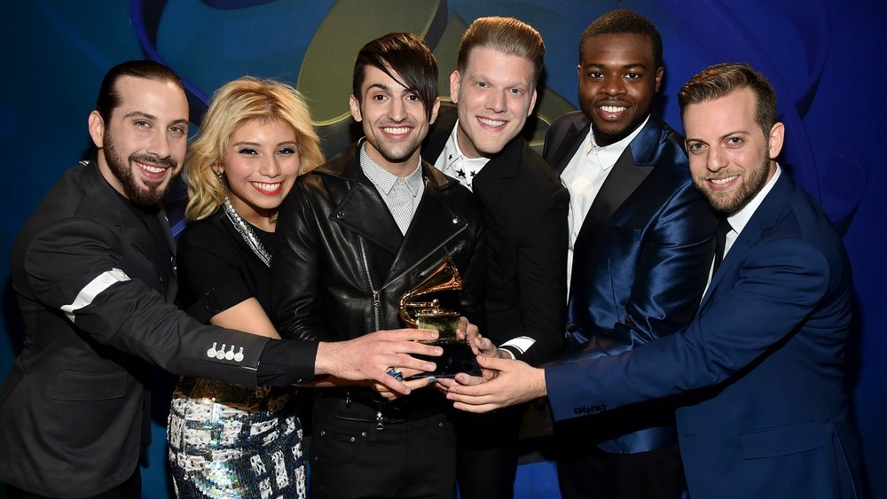 (From left to right) Avi Kaplan, Kirstie Maldonado, Mitch Grassi, Scott Hoying, Kevin Olusola, Ben Bram