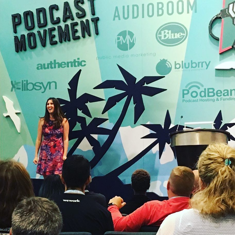 Cathy speaking at  Podcast Movement  2017