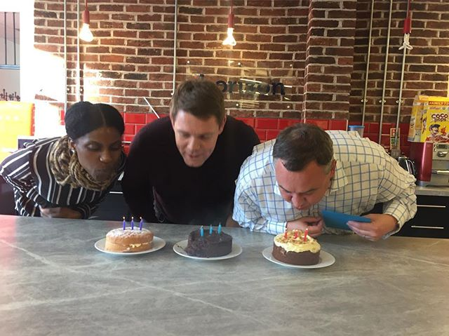 Birthday pic!! Happy birthday to these 3 champs! Jennifer, James & Mark. 🎂🎂🥂🍾 #birthday #ihorizon #Startup #techstartup #oldstreet #shoreditch #accountants