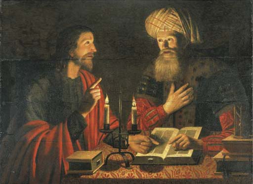 Christ talks with Nicodemus at Night by Crijn Hendricksz